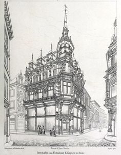 """archimaps:""""Design for a commercial and residential building, Cologne"""" Building Drawing, Building Sketch, Architecture Drawings, Architecture Old, Architect Drawing, Old Buildings, Cool Artwork, Art Sketches, Home Art"""