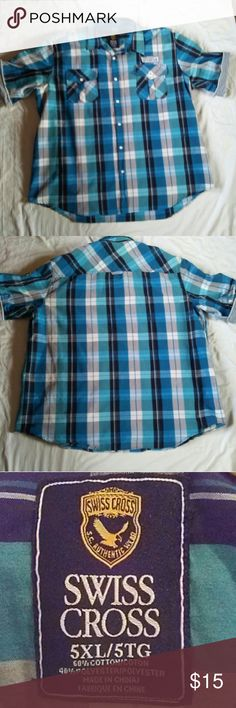 Mens Turquoise Plaid Swiss Cross Button Down Shirt Shades of turquoise and blue plaid, short sleeve, button down shirt.  Two front pockets. Swiss Cross patches on arms and above chest pocket. Chest patch slightly worn. Swiss Cross Shirts Casual Button Down Shirts