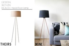 DIY Tripod Floor Lamp - with great step by step instructions!! By sarah m. dorsey designs