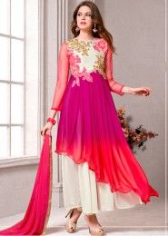 Party Wear Georgette Multi Colour Embroidered Work Anarkali Suit