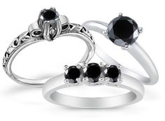 No stone can match the diamond in timeless beauty and allure, and black diamonds are no exception. In fact, these stones offer an extra sense of sophistication Black Diamond Jewelry, Diamond Rings, Rings N Things, Jewelry Rings, Jewlery, Rocks And Gems, Timeless Beauty, Jewelry Collection, Wedding Rings