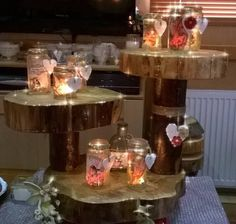 Natural Rustic Wood Log Slice 3 Tier Cake Stand Woodland Wedding