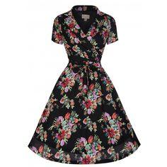 Beatrice Black Floral Tea Dress | Vintage Inspired Fashion - Lindy Bop