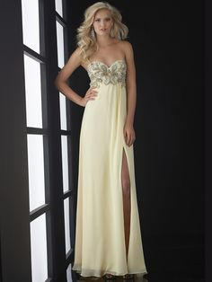 Pastel shades are totally in for prom season 2014 and this Jasz Couture prom dress 5006 fits the trend perfectly. A strapless sweetheart neckline borders the most beautiful rhinestone-beaded bodice, while the flowing skirt drapes elegantly from the empire waist to your feet with sassy side slit. A bra-strap shimmer along the open back. Pair this fabulously tailored formal dress with faceted statement earrings and strappy high heels. Features: Sweetheart Empire  Available in sizes 00 through…