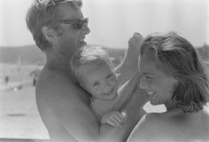 Romy Schneider with family In Saint Tropez France In August 1968 Actress Romy Schneider with her husband Harry Meyen and son David
