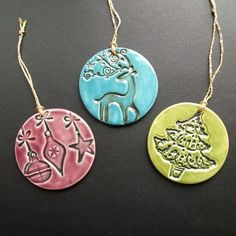 "Folksy :: Buy ""Ceramic Christmas decorations set of three"" 