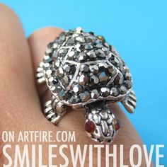 $6.50 Adjustable Turtle Animal Shell Ring in Silver with Rhinestone Detail