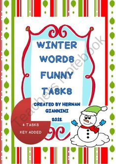 FREE - Fast Finishers -Winter Words Funny Tasks (4 Tasks With KEY- Elemenatry Level) from Hugs in! on TeachersNotebook.com (6 pages)  - this is a 6 pages product containing 4 tasks to practice winter words for fast finishers.