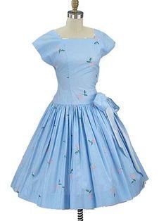50s Blue White Gingham Check Fruit Print Full Dress