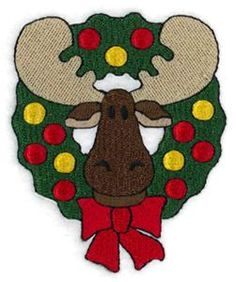 Christmas Wreath Moose (CD062513FC) Embroidery Design by Starbird Inc.