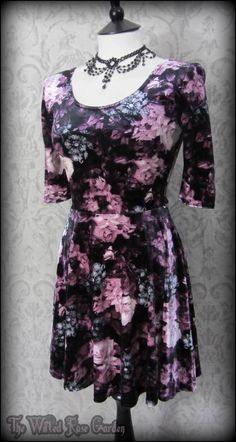 Vintage Rose Purple Grey Black Floral Velvet Skater Dress 10 Goth Romantic Alt | THE WILTED ROSE GARDEN