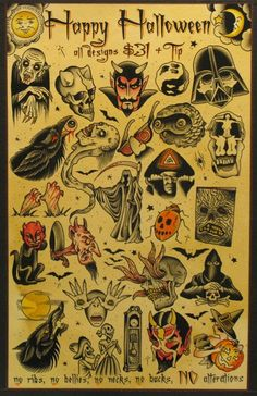 Three Kings Tattoo Halloween Flash Would love to have wallpaper made with this…