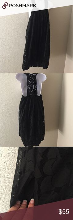 """Anthropologie new dress black dress by Ryu size M Chic and elegant black dress by Ryu lace and fully lined, pocket on both sides and bottom elastic great for any occasion size M 16"""" from armpit to armpit and 28 lengths, braids on the back made from chiffon. Anthropologie Dresses"""
