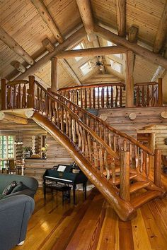 Rustic log home - tree branch / logs railing / staircase stairs - fantasy fairytale dream house.great loft for the living room! Log Cabin Living, Log Cabin Homes, Log Cabins, Barn Homes, Mountain Cabins, Mountain Homes, Cozy Living, Living Room, Living Area