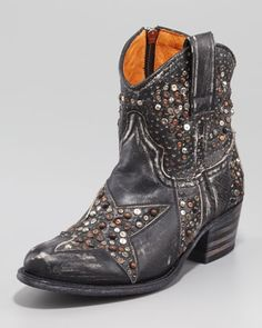 Pre Order!! WANT WANT WANT!!   Deborah Star-Studded Ankle Boot, Black by Frye at Neiman Marcus.