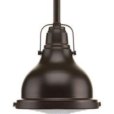 Progress Lighting Fresnel 6.125-in W Oil-Rubbed Bronze Standard Mini Pendant Light with Metal Shade
