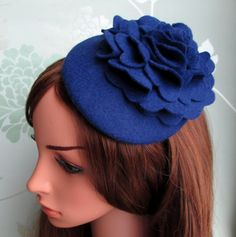 Blue Felt Hat Blue Hat Peony Flower by LillibetsMillinery on Etsy # Fashionable # Hat