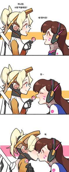 va x Mercy (Overwatch) Overwatch Comic, Overwatch Fan Art, Anime Wolf Drawing, Anime Motivational Posters, Cute Lesbian Couples, Cute Couple Art, Cartoon Fan, Mini Comic, Fanart