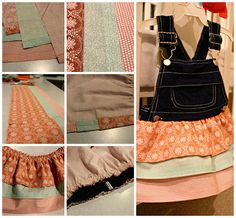 DIY Upcycled old toddler overalls into ruffle skirt. Sewing projects #amultifariouslife