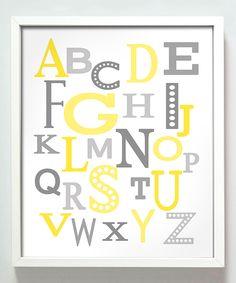 Yellow & Gray Modern Alphabet Print