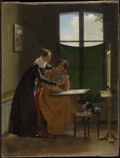 THE DRAWING LESSON, circa 1826, Pierre Duval Le Camus (French, 1790-1854), oil on canvas