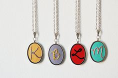 Embroidered Initial Necklace Perfect for by merriweathercouncil,