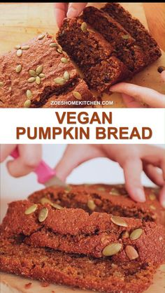 The best Vegan Pumpkin Bread ever with its incredibly moist and flavorful taste! Only using some simple wholesome ingredients - the cake would win both your kids' and other grown-ups' love! #vegan #veganrecipes #pumpkinbread #easybreakfast #healthysnacks Easy Healthy Breakfast, Vegan Breakfast Recipes, Vegan Snacks, Vegan Desserts, Fun Desserts, Vegan Recipes, Dessert Recipes For Kids, Quick Easy Desserts, Vegan Pumpkin Bread