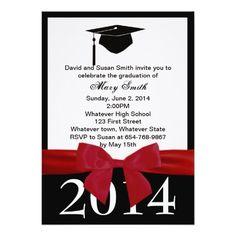 Red Ribbon Graduation Invitation…