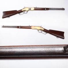 First gun marked as a Winchester, modal 1866 the yellow boy carbine, .44 rimfire made from 1866 to 1898.