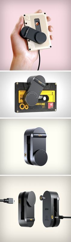 What the Elbow Cassette Player does is innovative, geeky, kitschy, revivalist, and incredibly cool… all together! This small device opens up, swivels, and snaps onto a cassette tape (almost like it was meant to be how cassettes were to be played!). While it grabs the cassette's spools in its elbow arms, the hinge sits against the exposed magnetic tape. A knob on the device allows you to control playback. The entire set-up is literally small enough to feel like you're holding an iPod Classic.