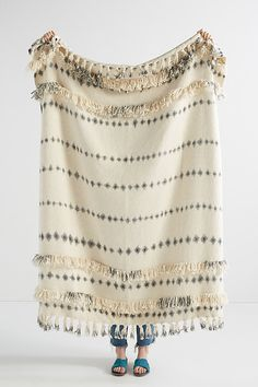 Fringed Sierra Throw Blanket By Anthropologie in White Size ALL