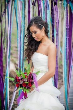 Be prepared to be whisked into an enchanted fairytale that's one part sweet and one part wicked. The story starts out with a bride and groom surrounded by lush Purple Wedding, Wedding Colors, Forest Wedding, Wedding Inspiration, Wedding Ideas, Enchanted, Fairytale, Strapless Dress, Groom