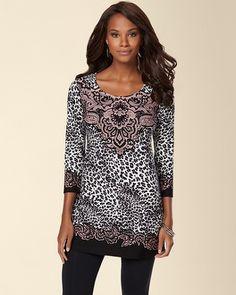 Soma Intimates Soft Jersey Scoopneck Tunic Filigree Paisley Black #somaintimates