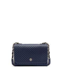 Tory Burch Marion Embossed Shrunken Shoulder Bag (Navy)