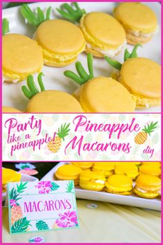 Party like a Pineapple -Pineapple party - Luau Party - Pineapple macarons - by Press Print Party! Learn how to make French macarons look like cute pineapples. DIY, French macaron recipe.