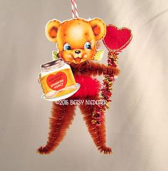 Valentine-Ornament-Pipe-Cleaner-Chenille-Feather-Tree-Honey-Bear-Vintage-Style