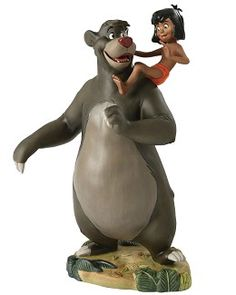 """WDCC Disney Classics The Jungle Book  Baloo And Mowgli Good Ol' Papa Bear #WDCCDisneyClassics #Art. Be-bopping along and singing a jungle song, Baloo the jive-talking bear and Mowgli the man-cub are an inseparable pair. I kept thinking how can I make this bear and this kid feel closer together, noted animator Ollie Johnston, while Disney artist Frank Thomas added, that with Baloo and Mowgli,""""I think we got the strongest friendly relationship between two characters we ever got in any picture."""
