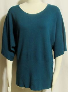 NEW Womens Ladies CABLE & GAUGE Teal Oversized & Tapered Stretch Sweater XL  #CableGauge #OversizedTapered