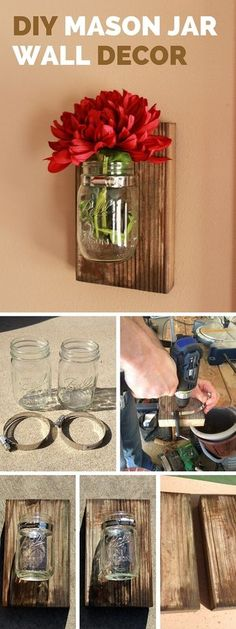 DIY Mason Jar Wall Decorations: Get creative decorating your walls. Fixing mason. DIY Mason Jar Wall Decorations: Get creative decorating your walls. Fixing mason jars with a piece of fresh flower to the wall and add a nice rustic accent to your…