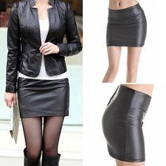 女性のセクシーなボディコンミニスカートフェイクレザージップ高ワーシトミニ短いスカートs-3xl