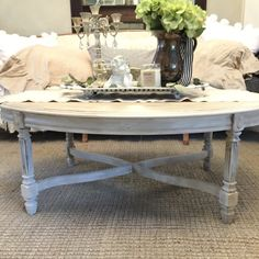 French Provincial Oval Coffee Table Large Wood by FarmHouseFare French Country Coffee Table, French Country Living Room, Farmhouse Style Kitchen, Farmhouse Table, Farmhouse Decor, Coffee Table Makeover, Oval Coffee Tables, Living Furniture, Diy Furniture