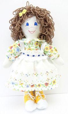 handmade Rag Doll daisy dress yellow shoes fancy flowered hat freckles cloth ragdoll NF176