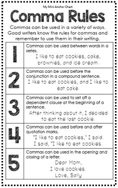 Grammar Posters, EDUCATİON, Comma Rules Anchor Chart - Great for Interactive Writing Journal - Grammar Mini Anchor Charts. Grammar Skills, Teaching Grammar, Grammar Lessons, Teaching Writing, Writing Lessons, Essay Writing, Teaching English, Writing Tips, Teaching Spanish