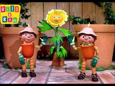 Bill and Ben the Flower Pot Men. Children's television started 1952.