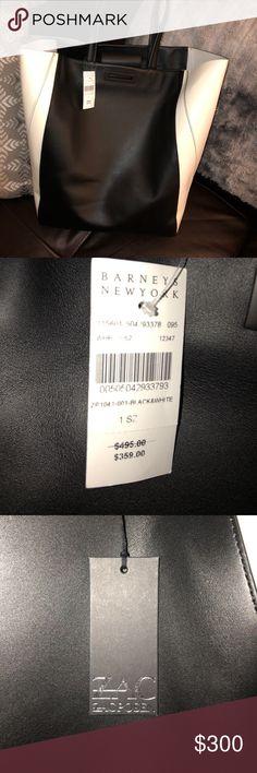 100% Authentic Zac Posen Tote Beautiful brand new black and white leather Zac Posen bag.  Stunning bag ! Zac Posen Bags Totes