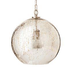 Mercury Glass Globe Pendant - Silver - Threshold™ already viewed Glass Pendant Light, Globe Pendant, Glass Pendants, Pendant Lamp, Living Room Light Fixtures, Ceiling Light Fixtures, Ceiling Lights, Foyer Lighting, Pendant Lighting