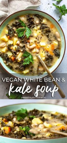 Vegan White Bean and Kale Soup with potatoes is a hearty winter soup that only takes 30 minutes to make #beansoup #soup #stew #vegan #vegansoup Vegan Carrot Soup, Vegan Potato Soup, Vegan Lentil Soup, Kale Soup, Vegetarian Soup, Vegan Soups, Vegetarian Recipes Dinner, Vegan Dinners, Vegan Vegetable Soup