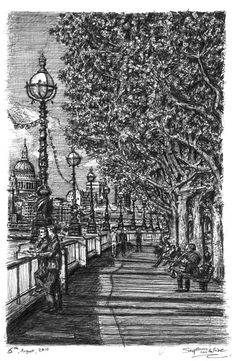 Riverside walk on the Southbank, London, England. Urban Drawings from Memory with Detailed Cityscapes. By Stephen Wiltshire.