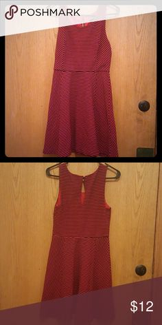 Express red and black striped skater dress Like brand new! Super cute dress to wear casually, work, or even out with friends! No snags or pilling. Express Dresses Mini