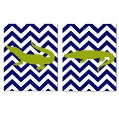 Modern Alligator Duo - Set of Two 8x10 Chevron Nursery Prints - Matches Alligator Pottery Barn Bedding - Olive Green, Navy Blue, White. $39.50, via Etsy.